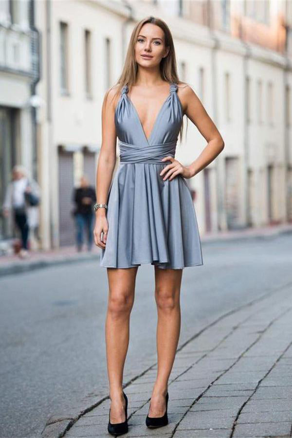 V-neck Short Backless Simple Cheap Elegant Homecoming Dresses Z1137