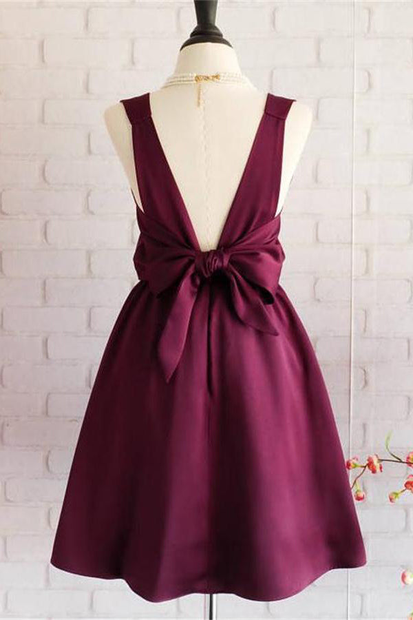 Simple Cheap Vintage Elegant Short Homecoming Dresses With Bowknot Z1141