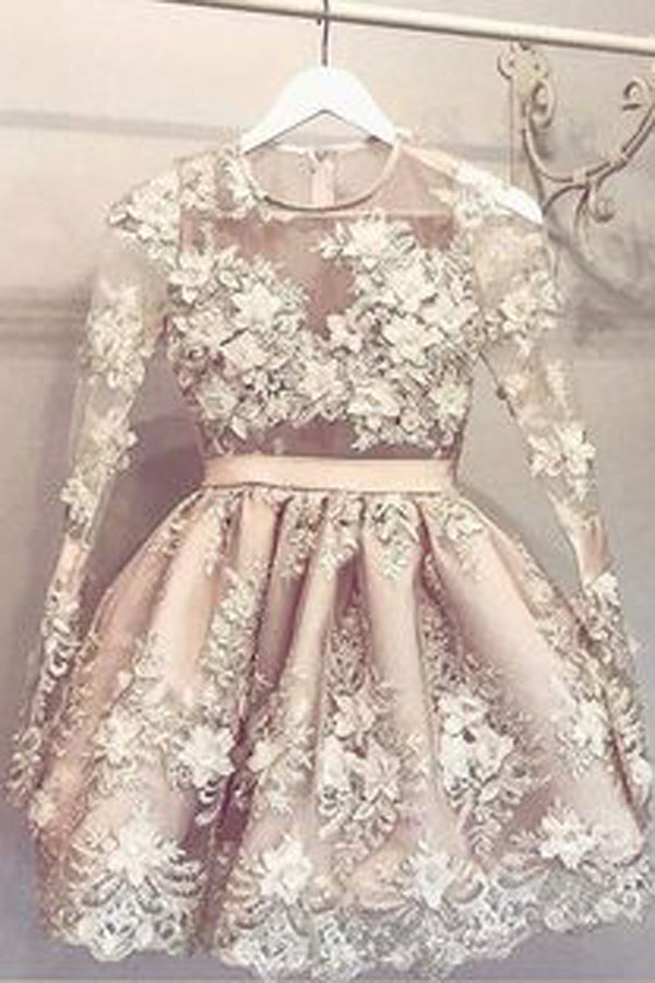Pretty Long Sleeves Charming Short Homecoming Dresses Sweet 16 Dresses Z1142