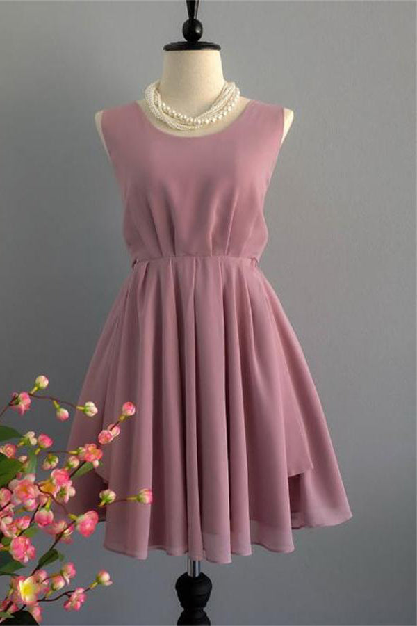Elegant Cameo Brown Chiffon Short Homecoming Dresses Bridesmaid Dresses Z1143