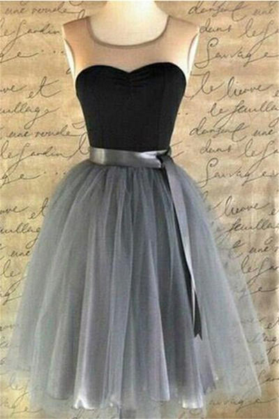Black And Gray Vintage Tulle Short Homecoming Dresses Party Dresses Z1144