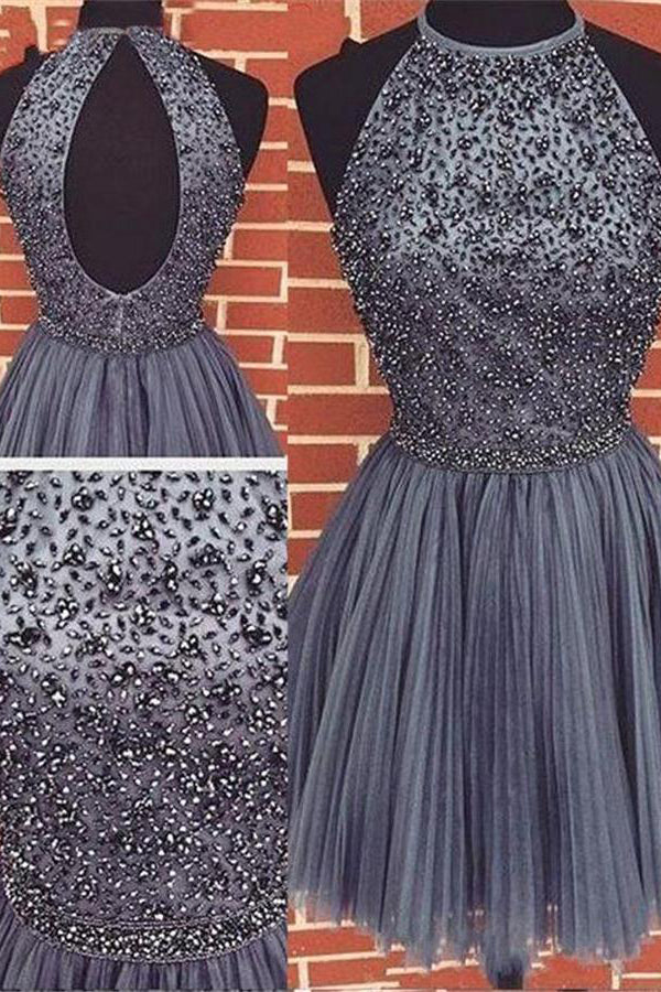Formal Beading Tulle A-line Gray Short Homecoming Dresses For Teens Z1147