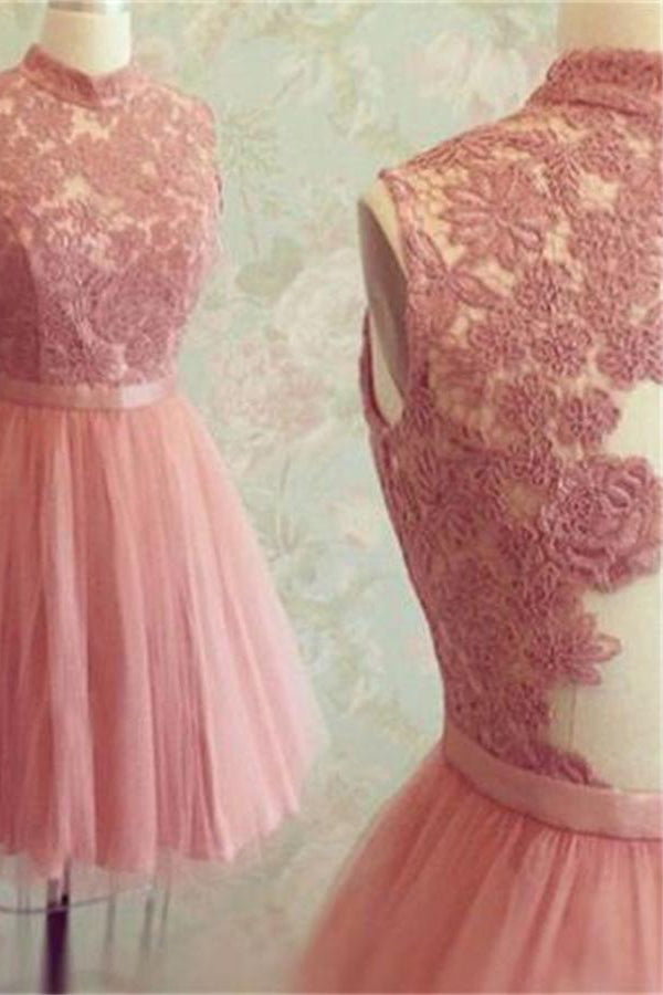 High Neck Shirt Pink Lace Tulle Simple Cheap Cute Short Homecoming Dresses Z1148