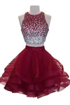 Burgundy 2 Pieces Sparkly Beading Ball Gown Short Homecoming Dresses Z1149