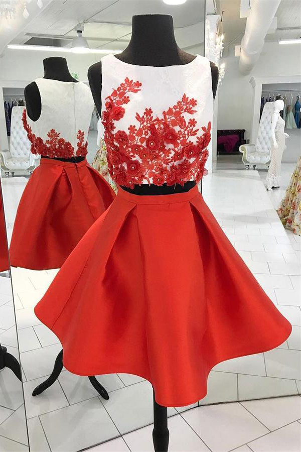 Red 2 Pieces Lace Satin Simple Cheap Short Homecoming Dresses Party Dresses Z1150