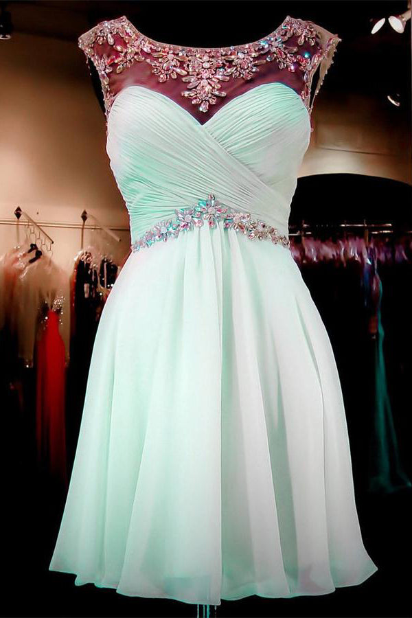Open Back Mint Chiffon Beading Short A-line Homecoming Dresses For Teens Z1158