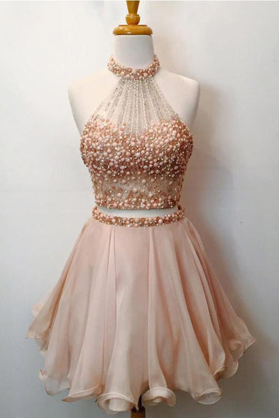 Beautiful 2 Pieces Beaded Halter Short Homecoming Dresses Cute Party Dresses Z1160
