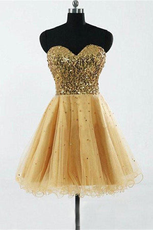 Sequin Shiny Gold Sweetheart A-line Homecoming Dresses Party Dresses Z1161