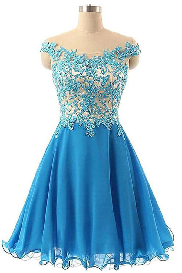 Blue Off The Shoulder Lace Beading Chiffon Short Elegant Homecoming Dresses Z1164