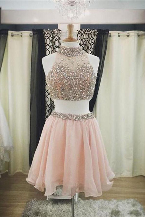 Cute Pink 2 Pieces Short A-line Beaded Homecoming Dresses Prom Dresses Z1166