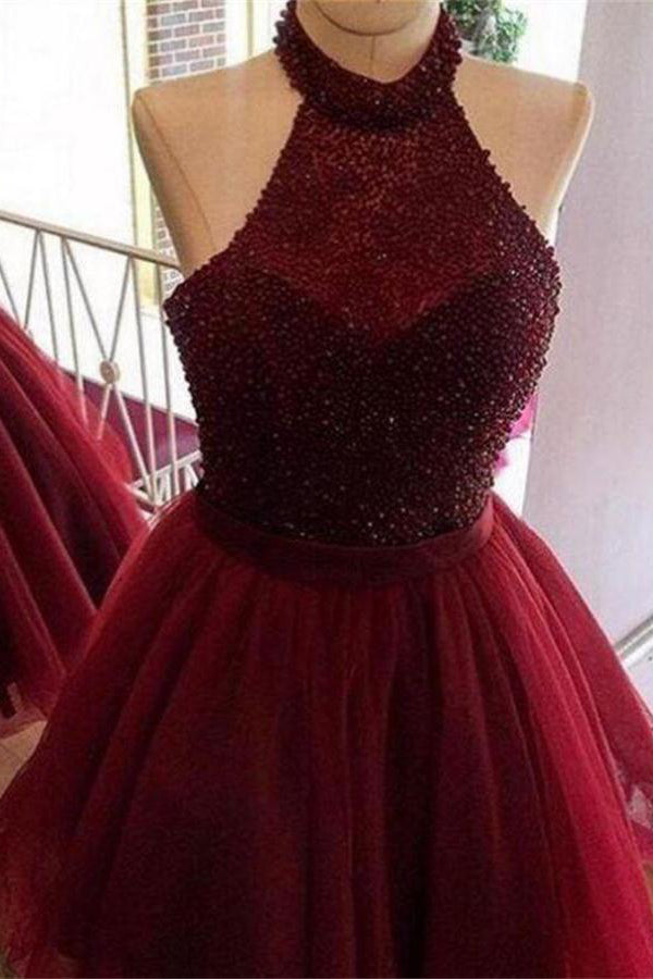 Sparkly Burgundy Beading Tulle Open Back Short Homecoming Dresses Z1168