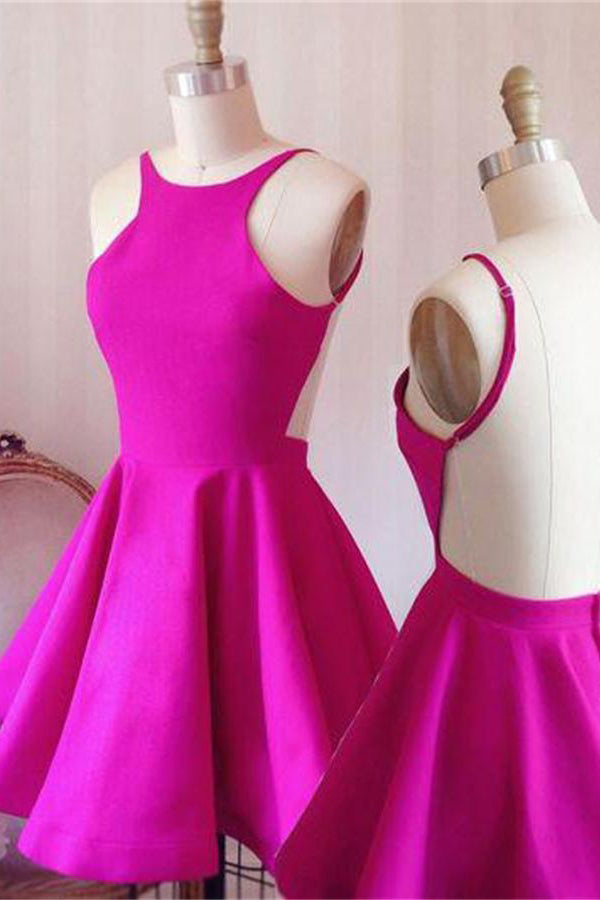 Fuchsia Short Simple Cheap Open Back Homecoming Dresses For Teens Z1169