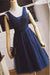 Modest Navy Blue Lace Tulle Beading V-neck A-line Homecoming Dresses Z1170