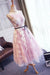 Elegant Pink Tulle Ivory Lace Open Back Simple Cheap Homecoming Dresses Z1171