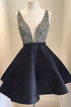 Modest V-neck Black Satin Short Beading Homecoming Dresses For Girls Z1172