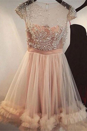 Cap Sleeves Beading Short A-line Homecoming Dresses Sweet 16 Dresses Z1173