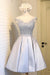 Classy Silver Gray Short Lace Satin A-line Lace Up Homecoming Dresses Z1174