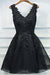 Formal Black Short V-neck Lace Beaded Homecoming Dresses Prom Dresses Z1175