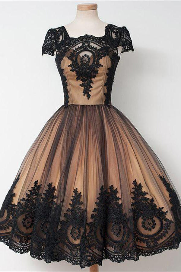 Vintage Cap Sleeves Black Lace Tulle Zipper Back Homecoming Dresses Z1176
