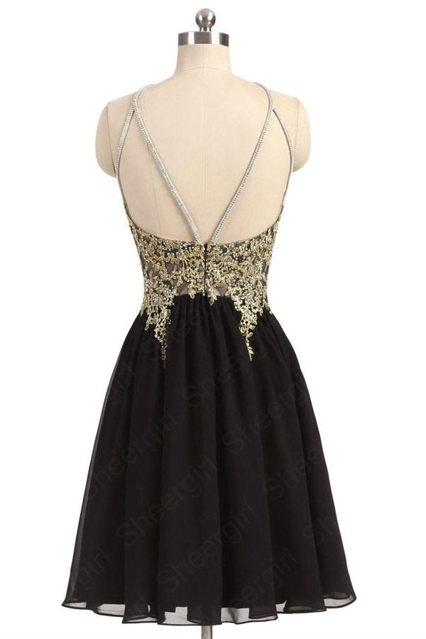 Modest Lace Chiffon Open Back Short Black Homecoming Dresses For Teens Z1177