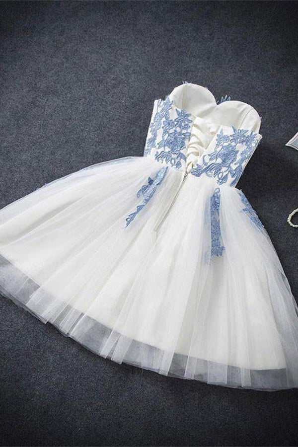 Elegant Blue And Ivory Short Sweetheart Lace Tulle Short Homecoming Dresses Z1178