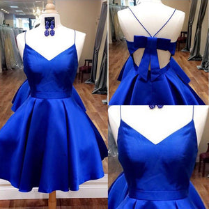 Spaghetti Straps Short Royal Blue Simple Cheap Homecoming Dresses Z1179