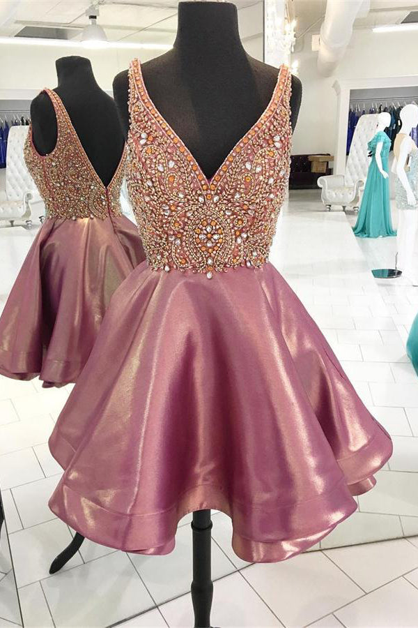 Modest Sparkly V-neck Pink Beading Short A-line Homecoming Dresses Z1180