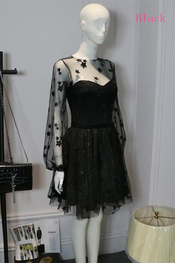 Newest Long Sleeves Black Short Homecoming Dresses For Teens Z1181