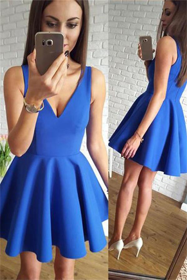 Simple Cheap Royal Blue Short V-neck Homecoming Dresses For Teens Z1184