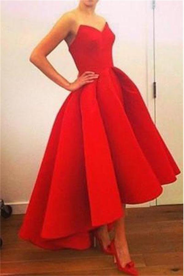 Modest Strapless High Low Red Simple Cheap Homecoming Dresses Z1186