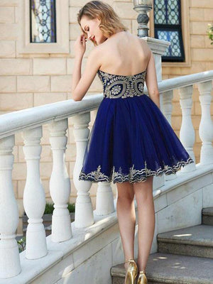 Sweetheart Royal Blue Short Lace Tulle Modest Homecoming Dresses Z1187