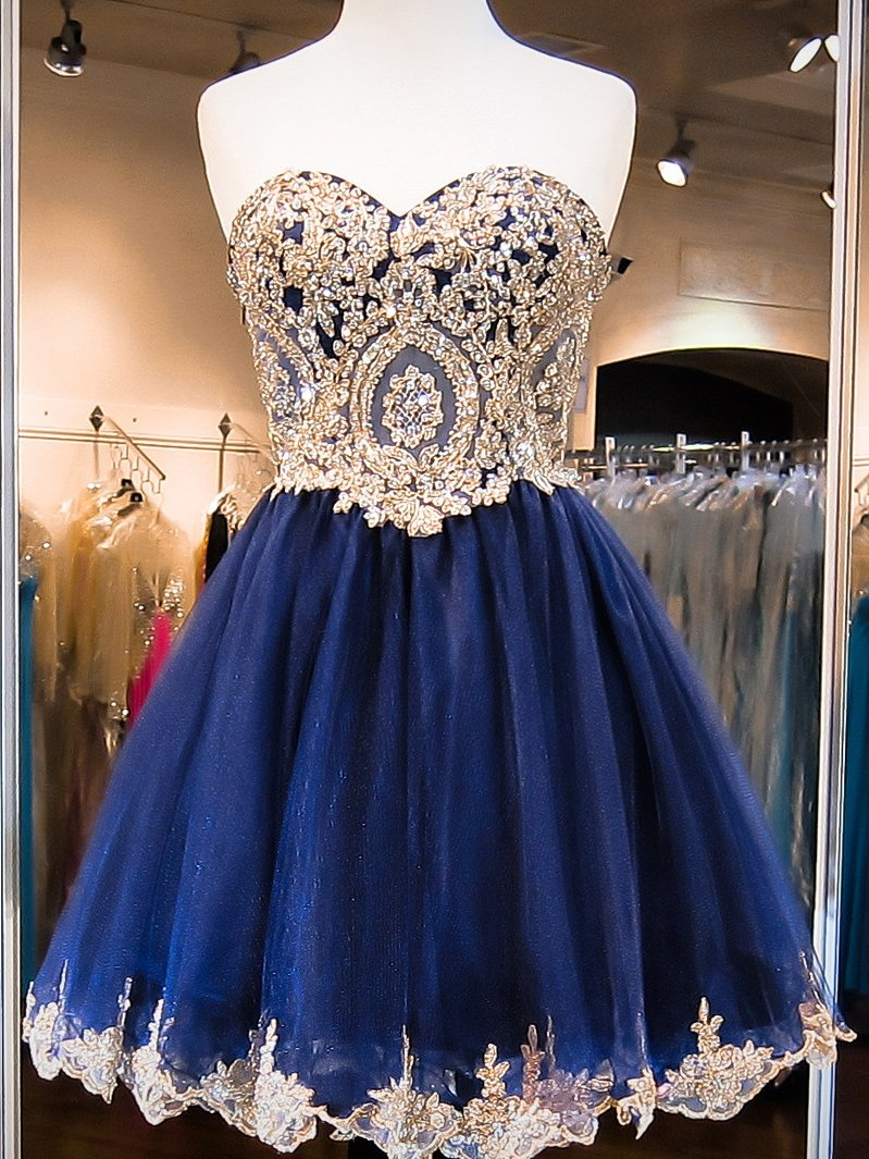 ad293955e4 Sweetheart Royal Blue Short Lace Tulle Modest Homecoming Dresses Z1187