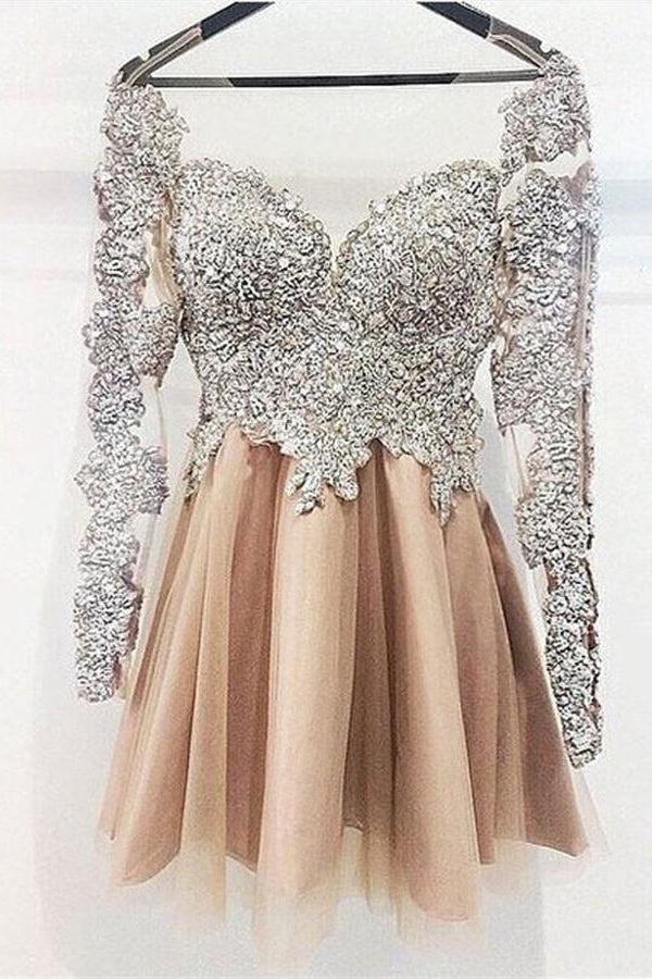 Sparkly Long Sleeves Sequin Shiny Short Homecoming Dresses Party Dresses Z1191