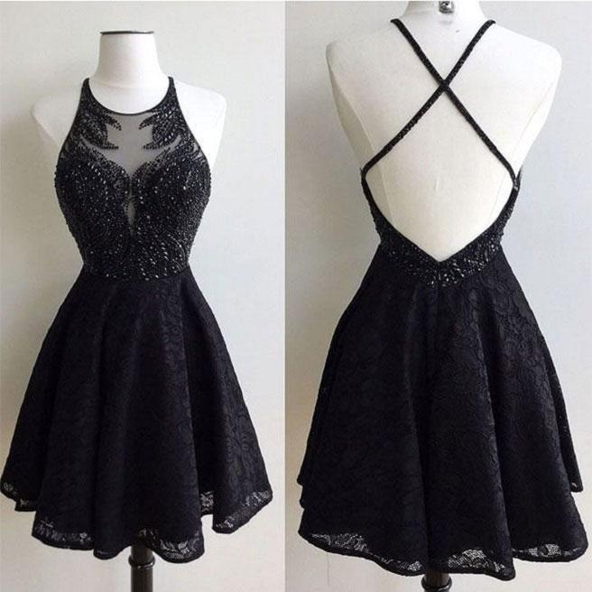Formal Black Lace Beading Open Back Short Homecoming Dresses For