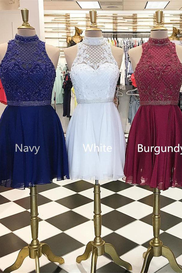 High Neck Elegant Beading Chiffon Short Homecoming Dresses For Teens Z1194