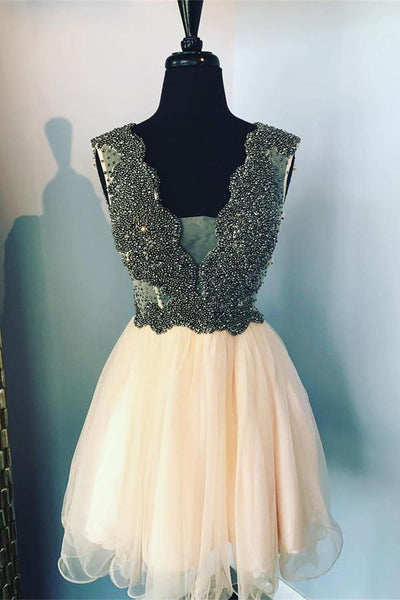 Deep V-neck Beading Tulle Homecoming Dresses Cute Short Prom Dresses Z1195