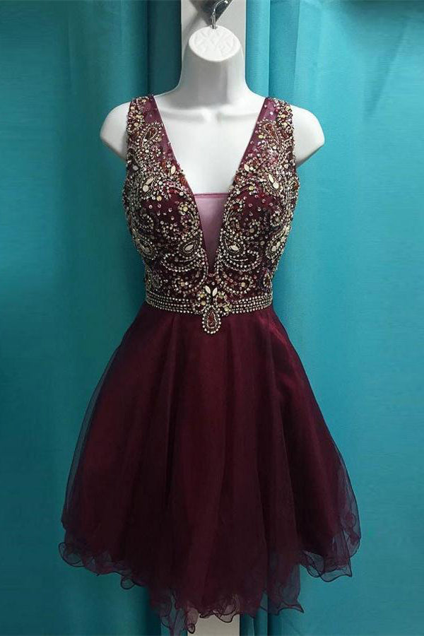 Pretty Beading V-neck Short Homecoming Dresses Formal Cocktail Dresses Z1198