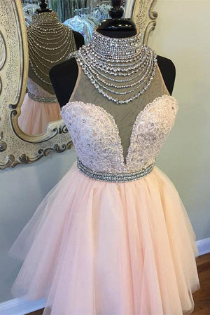 Beautiful High Neck Beading Tulle Pink Short Homecoming Dresses For Teens Z1199