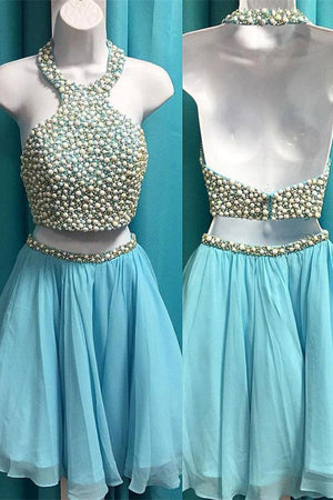 Light Blue Short 2 Pieces Beaded Chiffon Open Back Homecoming Dresses Z1201