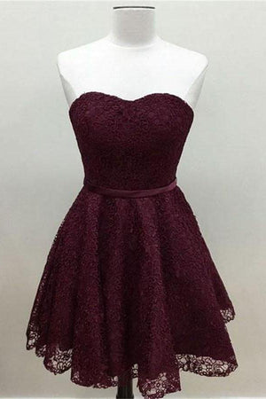 Modest Burgundy Short Sweetheart Lace Homecoming Dresses For Girls Z1203