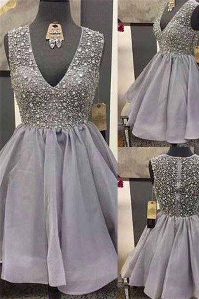 Charming Gray Beading Short V-neck Homecoming Dresses Party Dresses Z1205