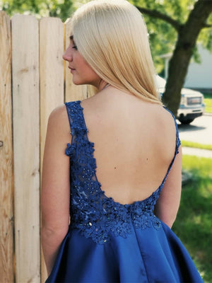 Pretty Plus Sizes V-neck Blue Lace Simple Cheap Short Homecoming Dresses Z1208