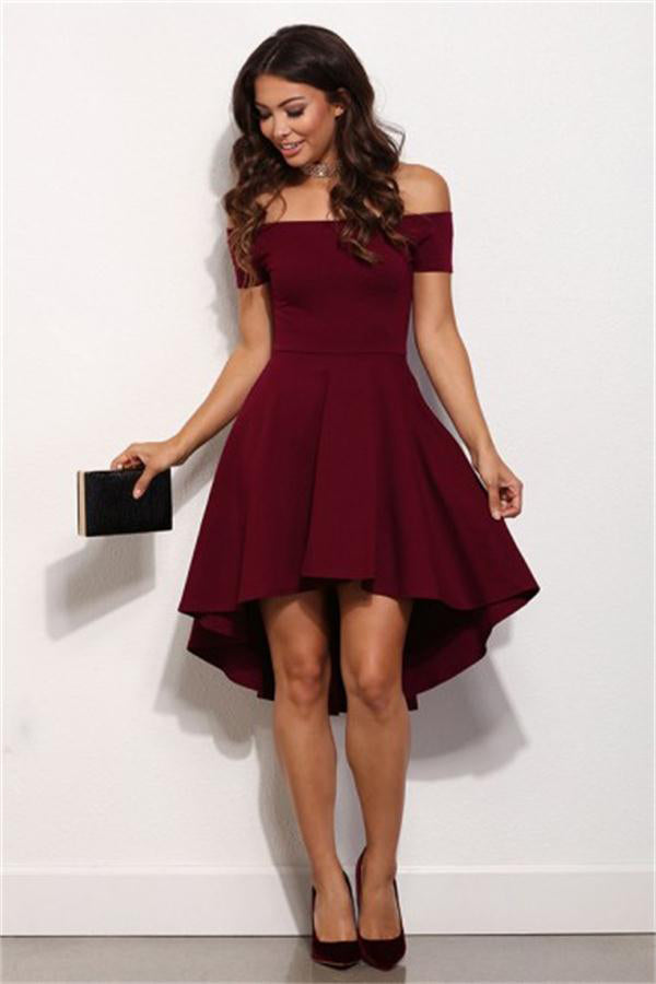Simple Cheap Off The Shoulder High Low Burgundy Homecoming Dresses Z1210