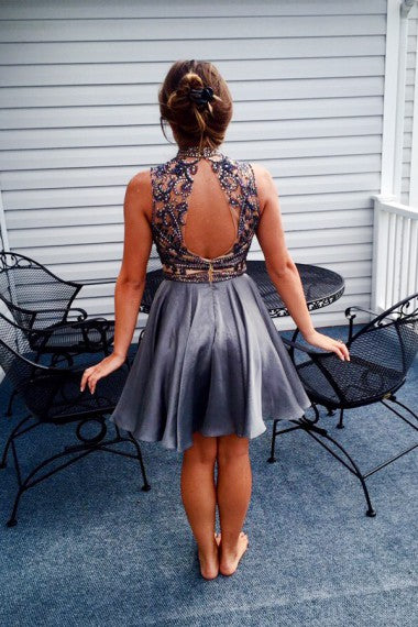 Sparkly High Neck Gray Beading Short Homecoming Dresses Cocktail Dresses Z1211