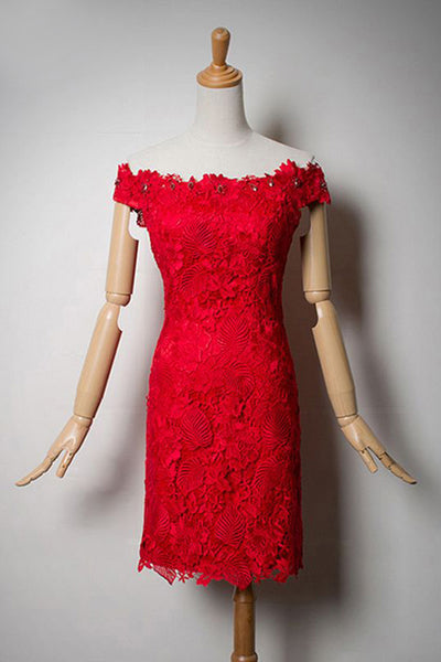 Charming Off The Shoulder Sheath Red Lace Short Homecoming Dresses Z1212