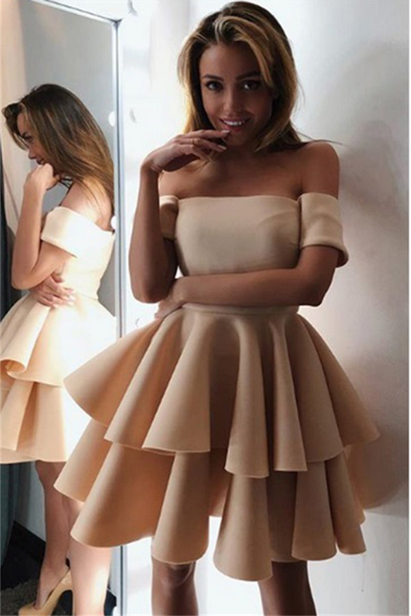 Charming Off The Shoulder Short Simple Cheap Homecoming Dresses Z1223