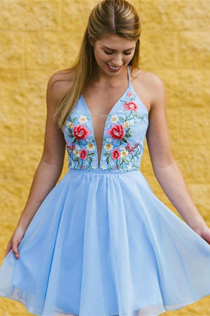 Elegant Short Embroidery V-neck Open Back Sky Blue Homecoming Dresses Z1231
