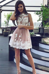 Cheap Lace Tulle Ivory And Pink Short Homecoming Dresses Cocktail Dresses Z1233