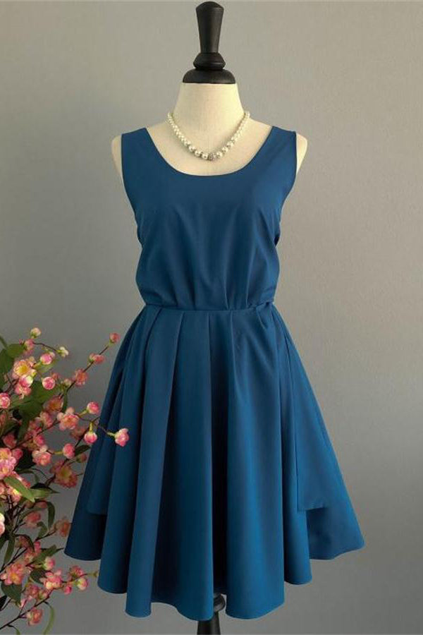 Vintage Blue Open Back Short Homecoming Dresses Bridesmaid Dresses Z1234