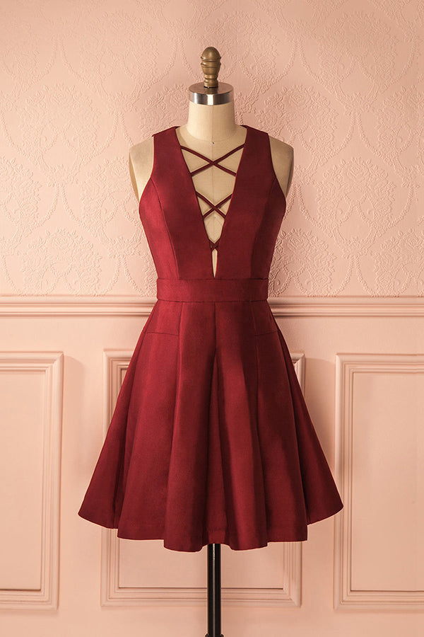 Simple Burgundy Satin Short Homecoming Dresses Sweet 16 Dresses Z1235